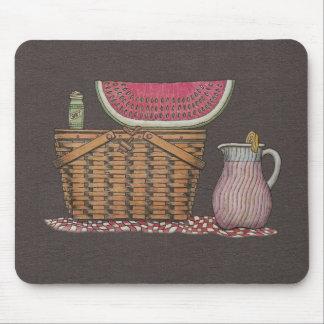 Picnic Basket Watermelon Mouse Pad