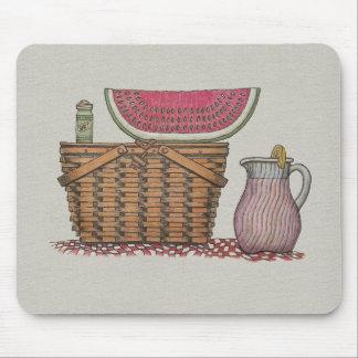 Picnic Basket Watermelon Mousepads