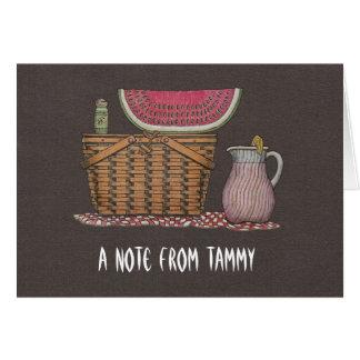 Picnic Basket & Watermelon Note Card