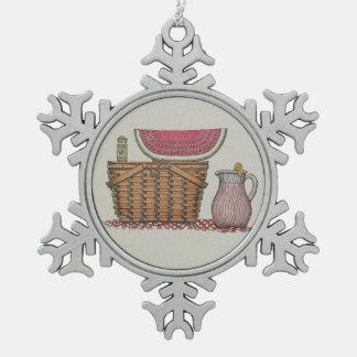 Picnic Basket & Watermelon Pewter Snowflake Decoration
