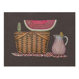 Picnic Basket & Watermelon Postcard