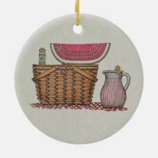 Picnic Basket & Watermelon Round Ceramic Decoration