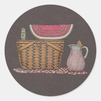 Picnic Basket & Watermelon Round Sticker