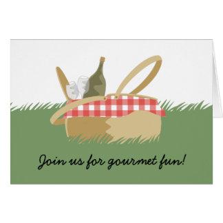 picnic basket wine bottle note card invitations