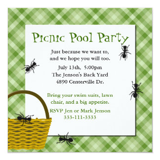 Picnic Basket with Ants Party Invitation