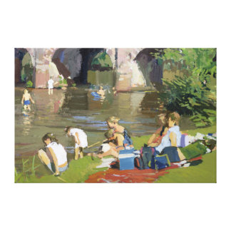 Picnic by the River Withypool Canvas Print