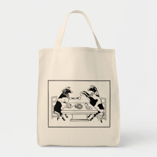 Picnic Cows Grocery Tote White Canvas Bag