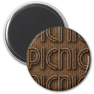 Picnic Funny Wicker Style Typography Brown 6 Cm Round Magnet