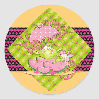Picnic Pals Frog & Mouse Round Sticker