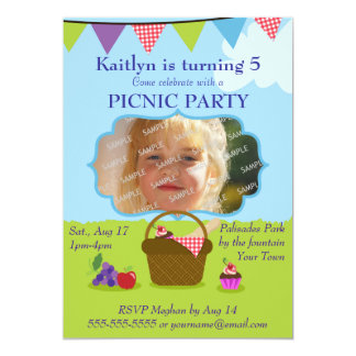 Picnic Party Photo Template Personalized Announcements