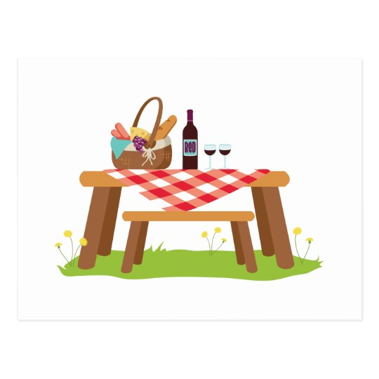 Picnic Table Basket Wine Postcard