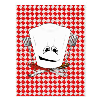 Picnic Table w/Chef Hat with BBQ Tools Post Card