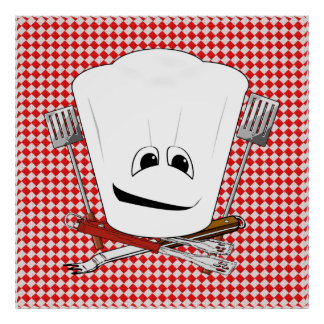 Picnic Table w Chef Hat with BBQ Tools Posters