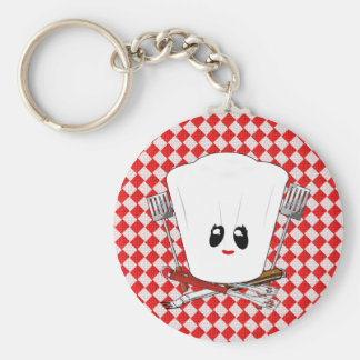Picnic Table w/Female Chef Hat & BBQ Tools Basic Round Button Key Ring