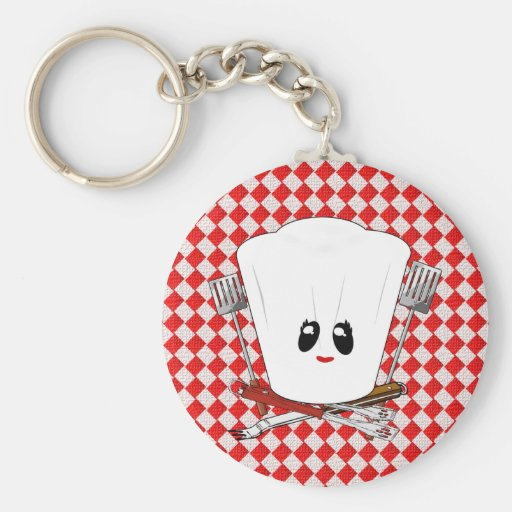 Picnic Table w/Female Chef Hat & BBQ Tools Keychain