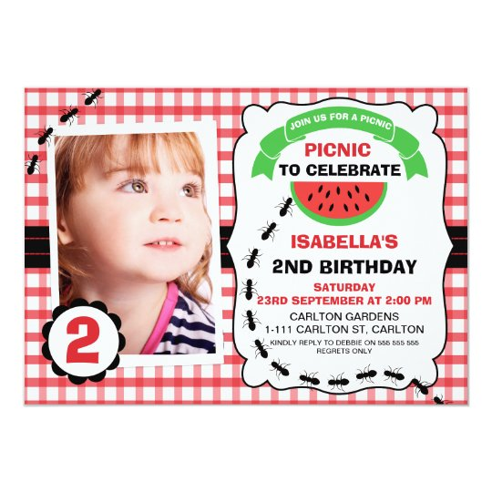 Picnic Watermelon Photo Birthday Party Invitation
