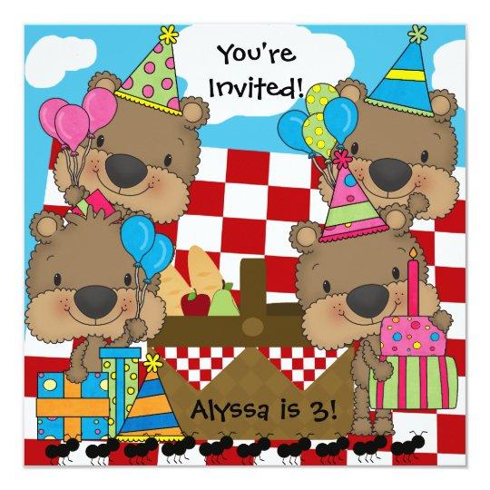 Picnic with the Teddy Bears Birthday Invitation