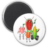 PicnicBots are funny food robots Fridge Magnet