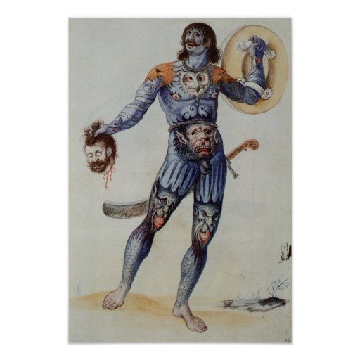 Pictish Man holding a Human Head Poster
