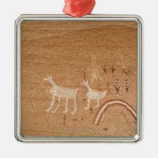Pictographs on sandstone canyon walls in Canyon Christmas Ornament