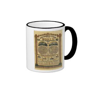 Pictorial View of the World Ringer Coffee Mug