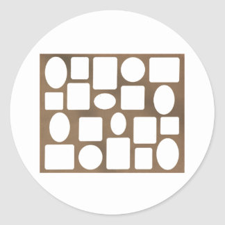 Picture Frame Landscape Brown The MUSEUM Zazzle Round Stickers