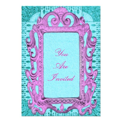 picture frame pink and blue wedding invitations 13 cm x 18 cm