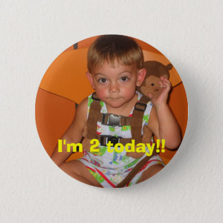 Picture, I'm 2 today!! 6 Cm Round Badge