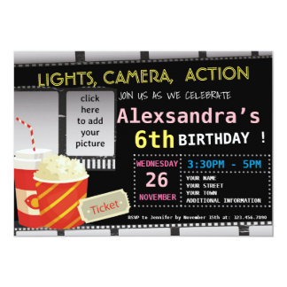 PICTURE MOVIE BIRTHDAY PARTY INVITATION