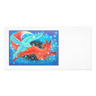 Picture of Animals A fox and A Hare Customized Photo Card