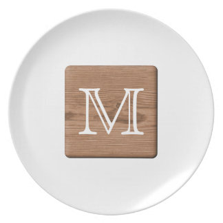 Picture of Brown Wood and Custom Monogram Letter. Plate
