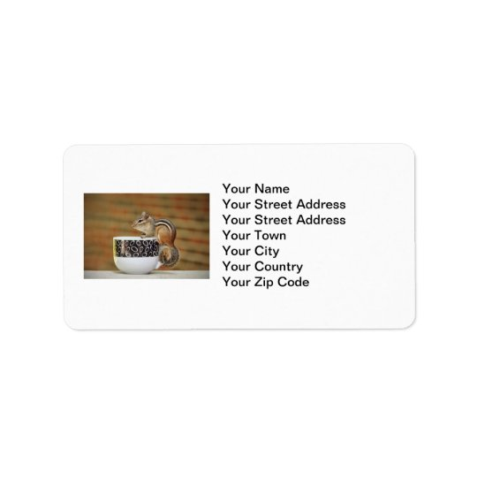 Picture of Chipmunk with Latte Coffee Cup Address Label
