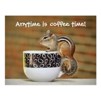 Picture of Chipmunk with Latte Coffee Cup Postcard