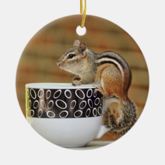 Picture of Chipmunk with Latte Coffee Cup Round Ceramic Decoration