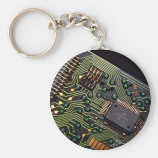 Picture of Circuit board from pocket calculator Basic Round Button Key Ring