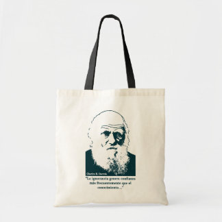 Picture of Darwin and mentions. Spanish. Bag