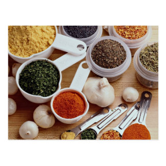 Picture of Fresh spices with garlic cloves Postcard