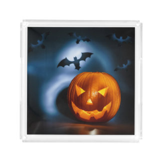 Picture Of Halloween Holiday Background, Carved Acrylic Tray