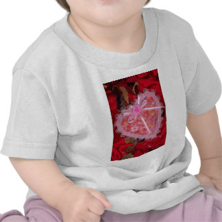 Picture of Lace heart on red satin with potpourri Tees