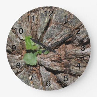 Picture of Old Wood with Plant. Large Clock