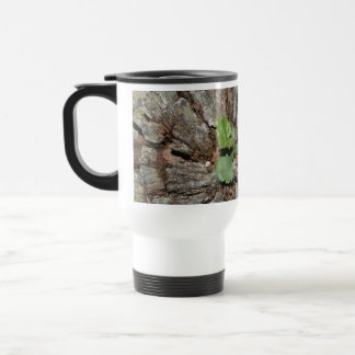 Picture of Old Wood with Plant. Travel Mug