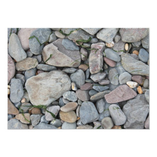 Picture of stones on a beach. 13 cm x 18 cm invitation card