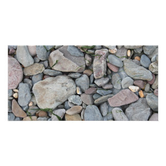 Picture of stones on a beach. customized photo card