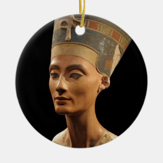 Picture of the Nefertiti Bust in Neues Museum Round Ceramic Decoration