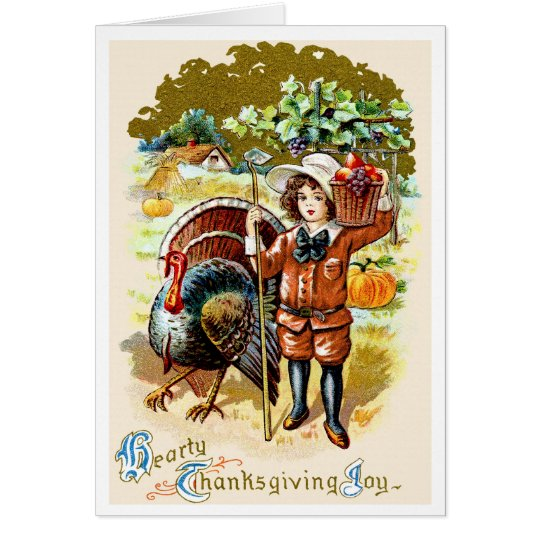 """PICTURE POSTCARD""HEARTY THANKSGIVING JOY GREETING CARD"