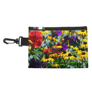 Picturesque Colorful Flowers Clip On Accessory Bag