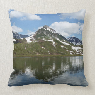 Picturesque mount landscape: lake, cloud and sky cushion