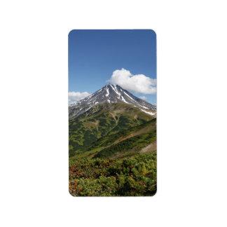 Picturesque summer volcano landscape in Kamchatka Label