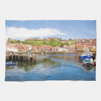 Picturesque view of Whitby Harbour and abbey Tea Towel