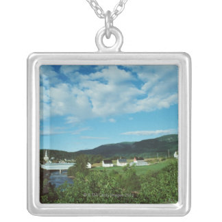 Picturesque village of St. Jean in Quebec, Silver Plated Necklace